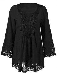 Lace Patchwork Peasant Top - BLACK