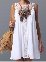 Lace Panel Spring Casual Summer Tunic Dress - WHITE