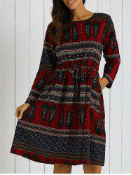 Printed Pocket Design Loose-Fitting Dress - DEEP RED