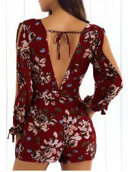 Front Tied Flower Print Long Sleeve Pants Romper - DEEP RED