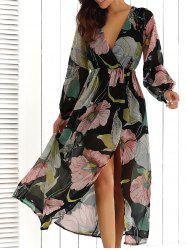 Big Flower Print V Neck Long Sleeve Maxi Dress - FLORAL