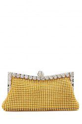Metal Trimmed Rhinestone Evening Bag - GOLDEN