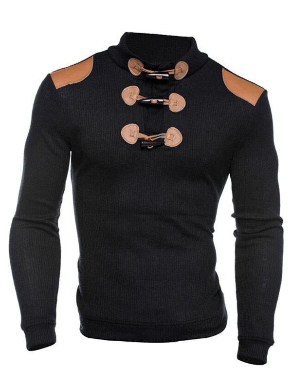 Sale Ribbed Shoulder Patch Claw Button Long Sleeve Sweater