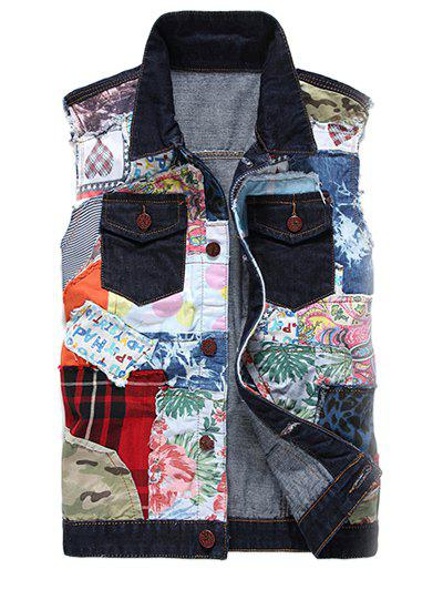Gilet Bloc de Couleur de Col Rabattu Patch Design Denim