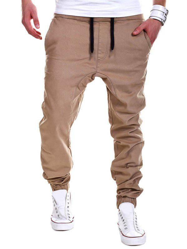 Drop Crotch Drawstring Double Welt Pockets Jogger PantsMEN<br><br>Size: M; Color: KHAKI; Style: Fashion; Pant Style: Jogger Pants; Pant Length: Long Pants; Material: Cotton Blends; Fit Type: Loose; Front Style: Flat; Closure Type: Drawstring; Waist Type: Mid; With Belt: No; Weight: 0.2960kg; Package Contents: 1 x Pants;