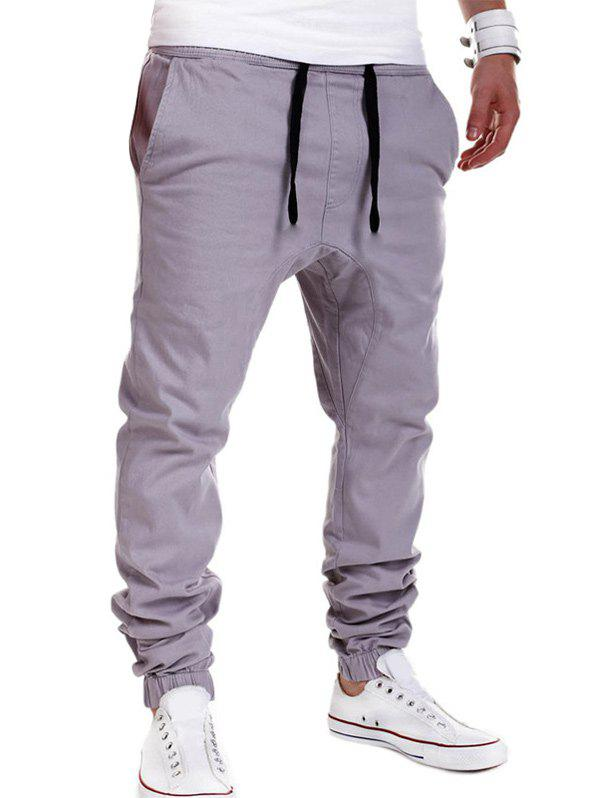 Drop Crotch Drawstring Double Welt Pockets Jogger PantsMEN<br><br>Size: M; Color: GRAY; Style: Fashion; Pant Style: Jogger Pants; Pant Length: Long Pants; Material: Cotton Blends; Fit Type: Loose; Front Style: Flat; Closure Type: Drawstring; Waist Type: Mid; With Belt: No; Weight: 0.2960kg; Package Contents: 1 x Pants;