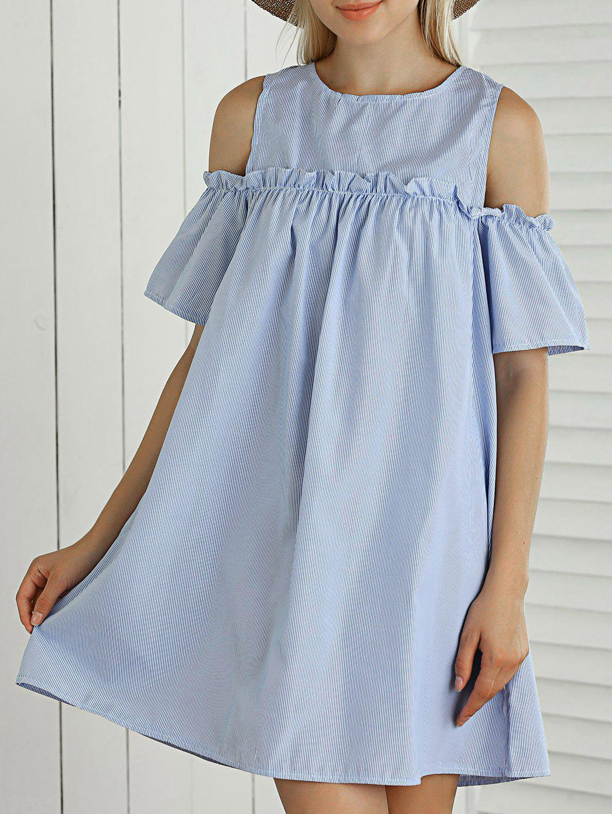 Trendy Striped Cut Out Ruffled Casual Dress For Summer