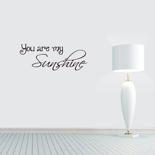 You Are My Sunshine Proverb Home Decoration Wall StickerHOME<br><br>Color: BLACK; Wall Sticker Type: Plane Wall Stickers; Functions: Decorative Wall Stickers; Theme: Words/Quotes; Material: PVC; Feature: Removable; Size(L*W)(CM): 57*28.6; Weight: 0.155kg; Package Contents: 1 x Wall Sticker 1 x Transfer Film;
