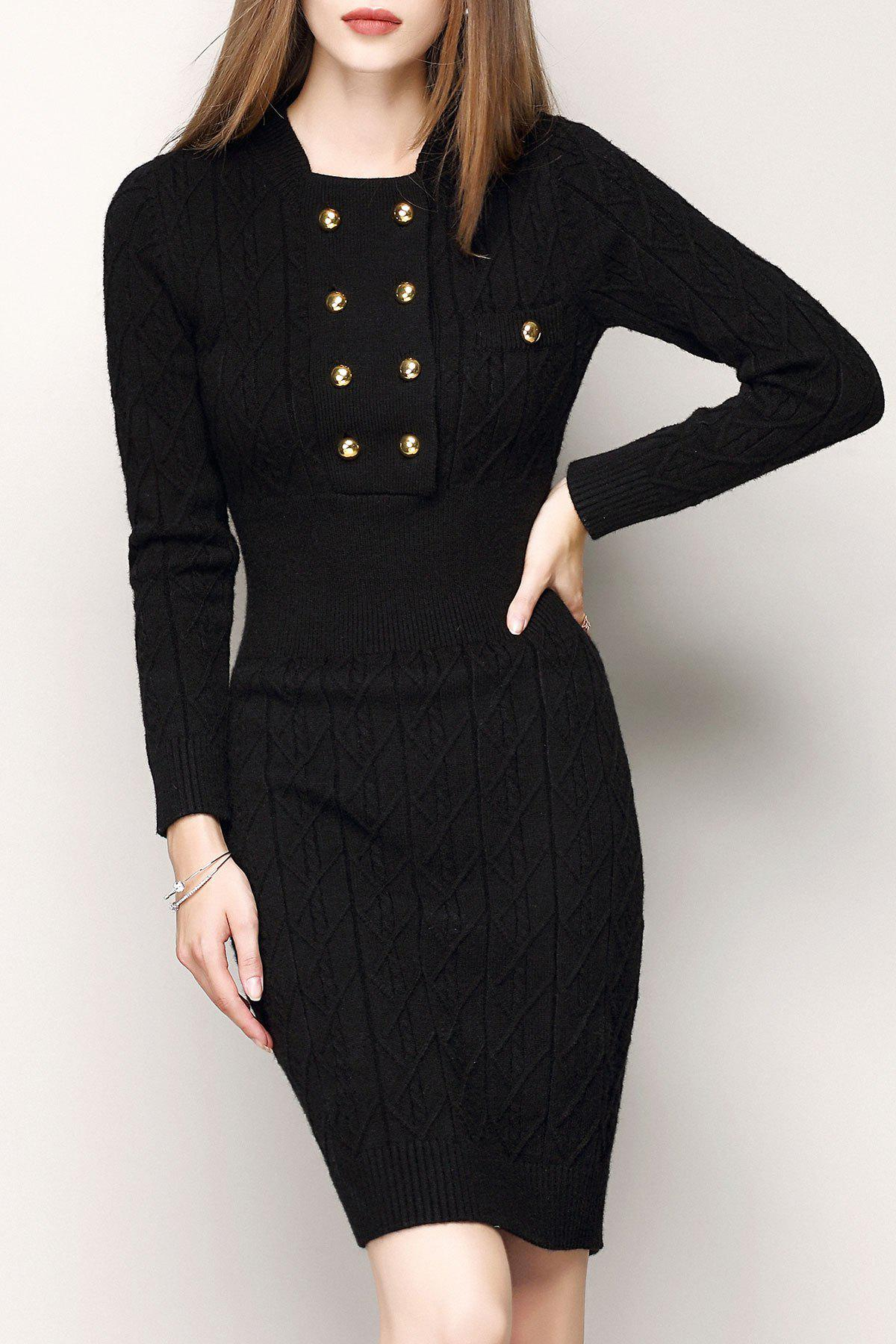 Buy Bodycon Buttoned Sweater Dress