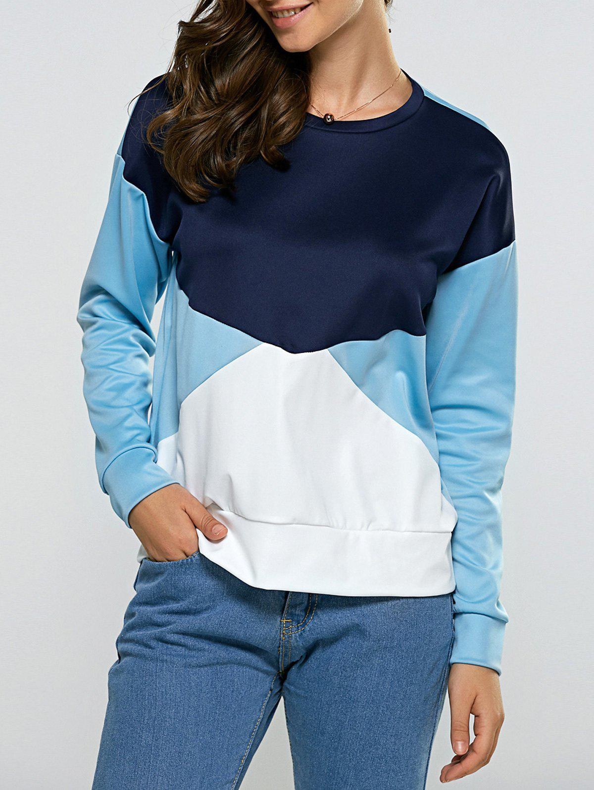 Latest Round Neck Splicing Contrast Color Sweatshirt