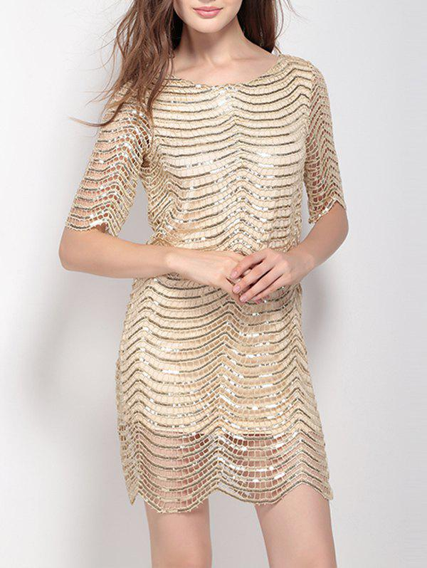 New Metallic Scalloped Glitter Night Out Mini Short Dress