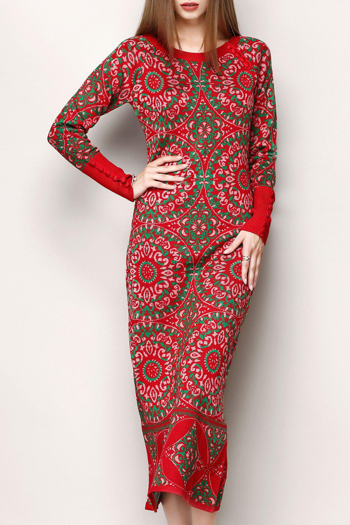 Jacquard Print Ethnic Style Sweater DressWOMEN<br><br>Size: L; Color: RED; Style: Sheath; Occasion: Casual; Material: Acrylic,Wool; Composition: 70%Acrylic,30%Wool; Dresses Length: Ankle-Length; Neckline: Round Collar; Sleeve Length: Long Sleeves; Pattern Type: Print; With Belt: No; Season: Fall; Weight: 0.350kg; Package Contents: 1 x Dress;