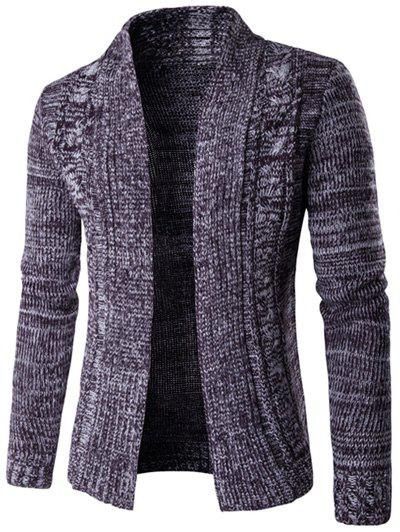Turn-Down Collar manches longues en maille Blends Cardigan Pourpre  2XL
