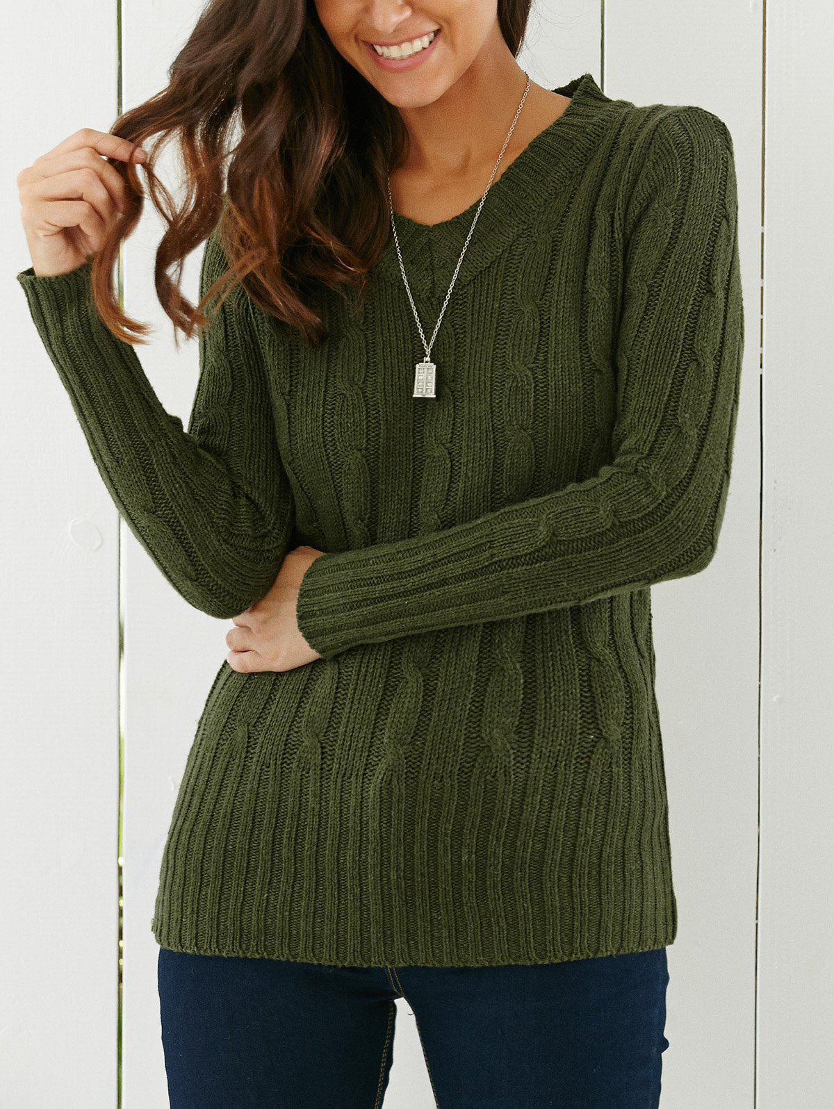 Longline V Neck SweaterWOMEN<br><br>Size: ONE SIZE; Color: GREEN; Type: Pullovers; Material: Acrylic; Sleeve Length: Full; Collar: V-Neck; Style: Vintage; Pattern Type: Others; Weight: 0.426kg; Package Contents: 1 x Sweater;