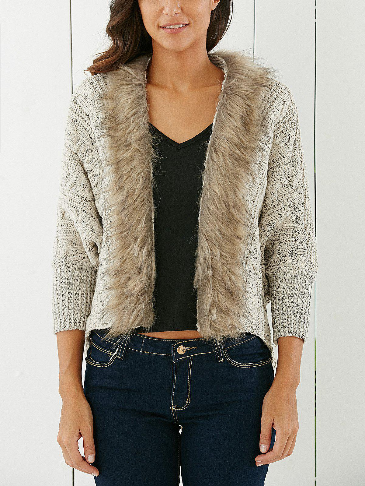 Latest Fashionable Solid Color With Faux Fur Long Sleeve Women's Cardigan