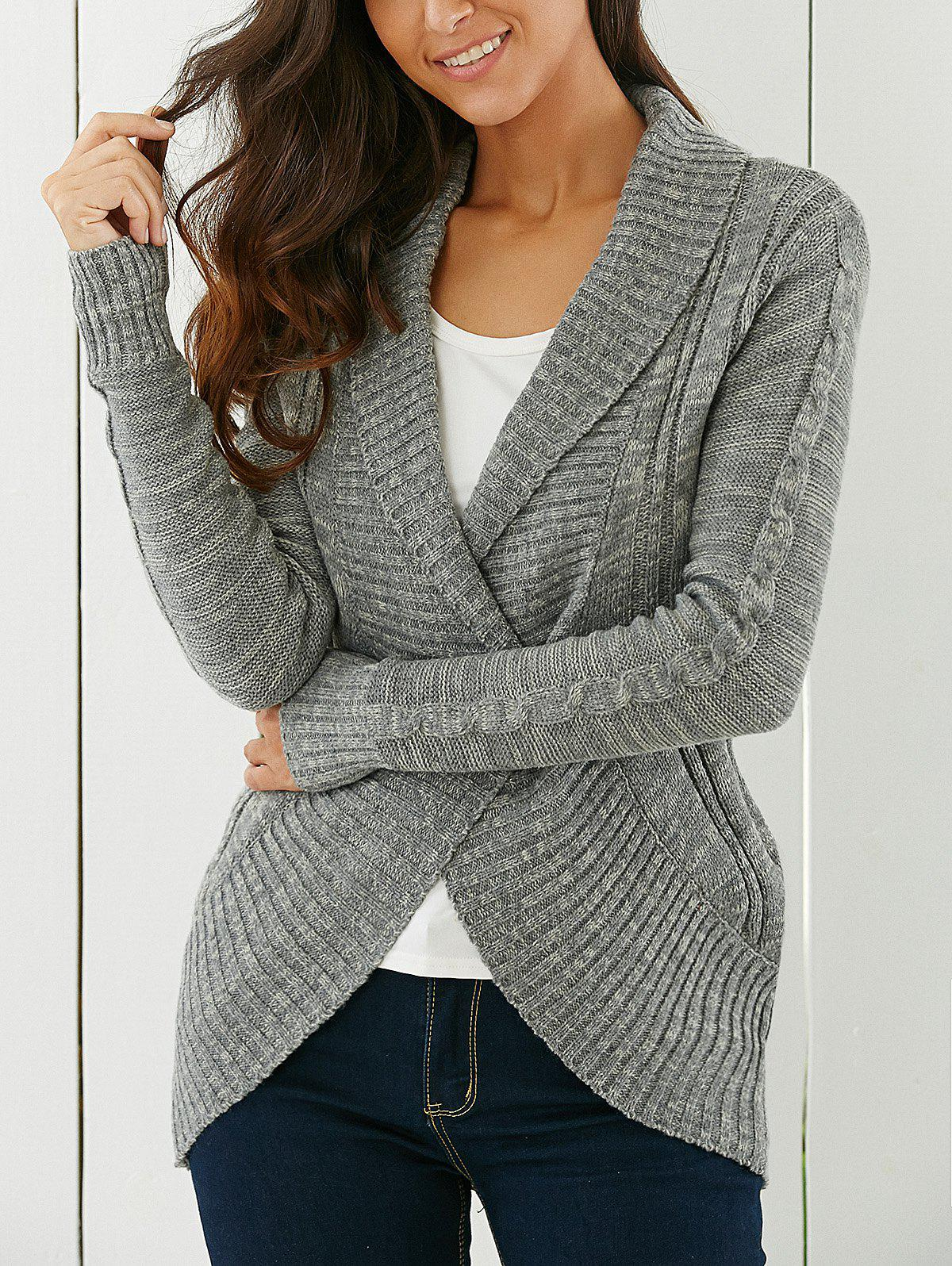 Shawl Collar CardiganWOMEN<br><br>Size: M; Color: GRAY; Type: Cardigans; Material: Acrylic; Sleeve Length: Full; Collar: Shawl Collar; Style: Fashion; Pattern Type: Solid; Season: Fall,Winter; Weight: 0.430kg; Package Contents: 1 x Cardigan;