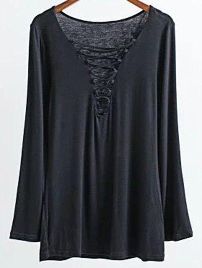 Shops Long Sleeves Lace-Up T-Shirt