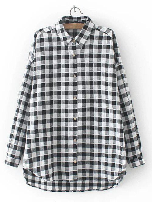 Chic High Low Checkered Pattern Shirt