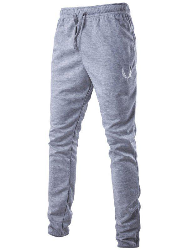 Lace-Up Embroidered Narrow Feet Zipper Design PantsMEN<br><br>Size: L; Color: LIGHT GRAY; Style: Fashion; Pant Style: Harem Pants; Pant Length: Long Pants; Material: Cotton,Polyester; Fit Type: Regular; Front Style: Flat; Closure Type: Drawstring; Waist Type: Mid; With Belt: No; Weight: 0.349kg; Package Contents: 1 x Pants;