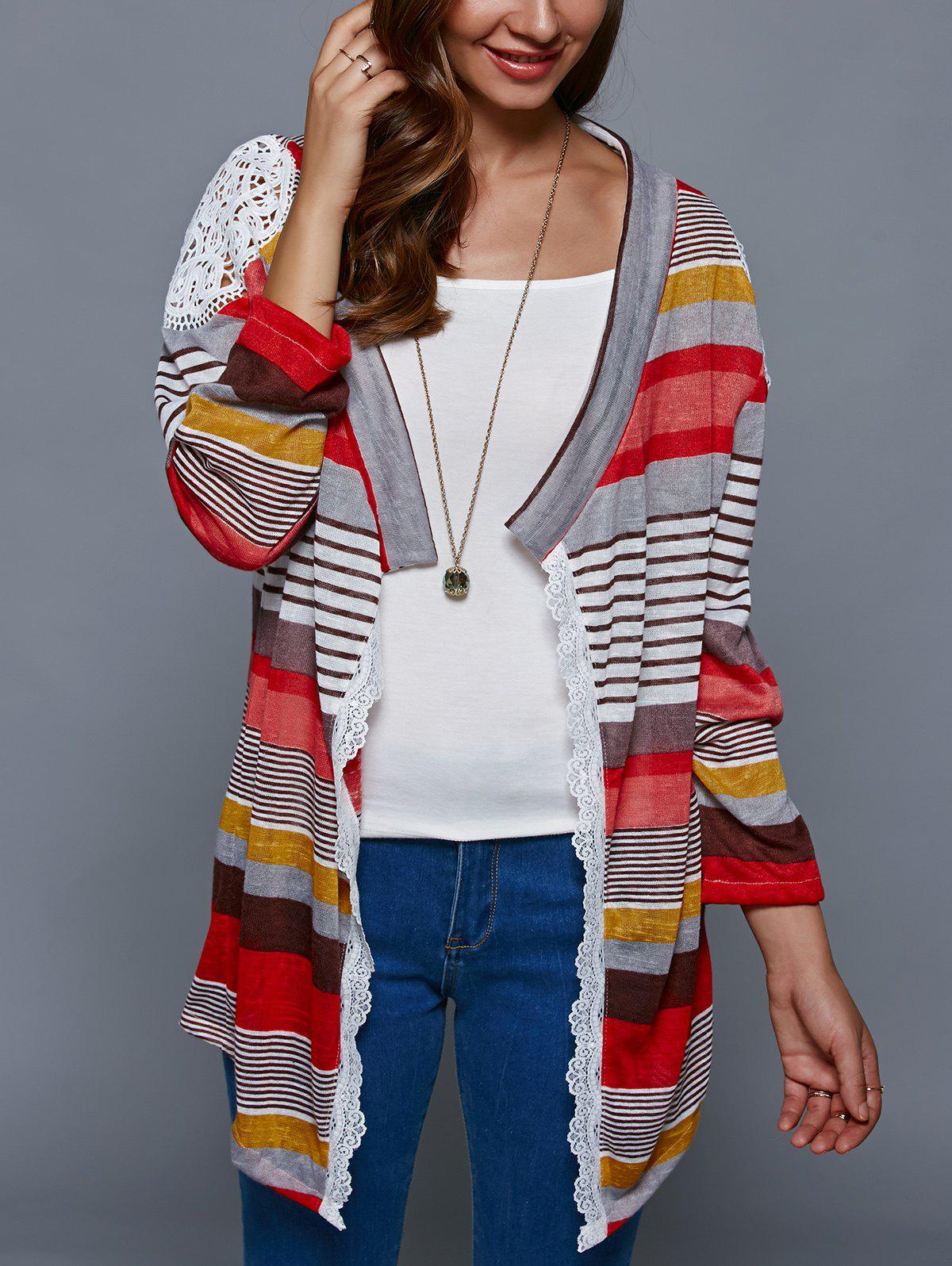 Colorful Print Thin CardiganWOMEN<br><br>Size: S; Color: COLORMIX; Type: Cardigans; Material: Polyester; Sleeve Length: Full; Collar: Collarless; Style: Fashion; Pattern Type: Print; Season: Fall,Spring,Summer; Weight: 0.150kg; Package Contents: 1 x Cardigan;