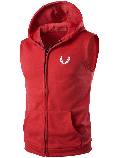 Shops Hooded Embroidery Sleeveless Hoodie Zip-Up Waistcoat