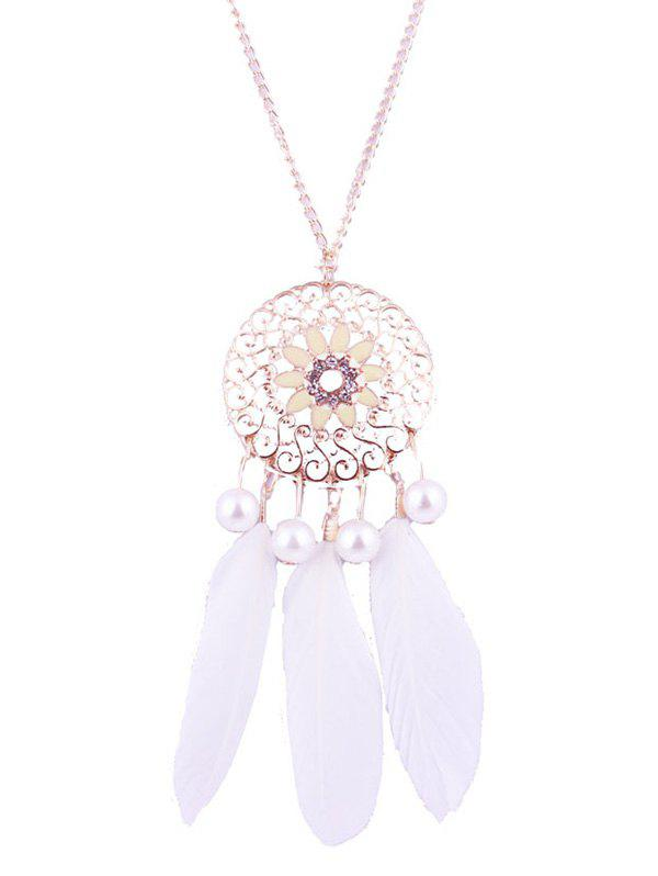 New Faux Pearl Floral Round Feather Necklace