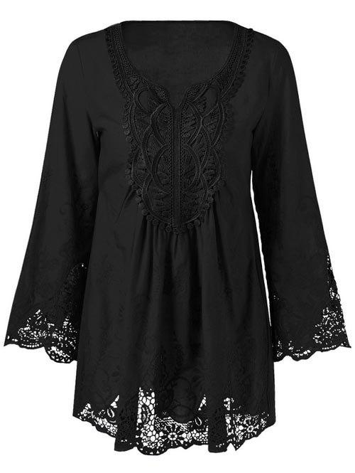 Lace Patchwork Peasant TopWOMEN<br><br>Size: 2XL; Color: BLACK; Style: Casual; Material: Cotton Blends,Polyester; Shirt Length: Long; Sleeve Length: Full; Collar: Scoop Neck; Pattern Type: Floral; Season: Fall,Spring,Summer; Weight: 0.1930kg; Package Contents: 1 x Blouse;