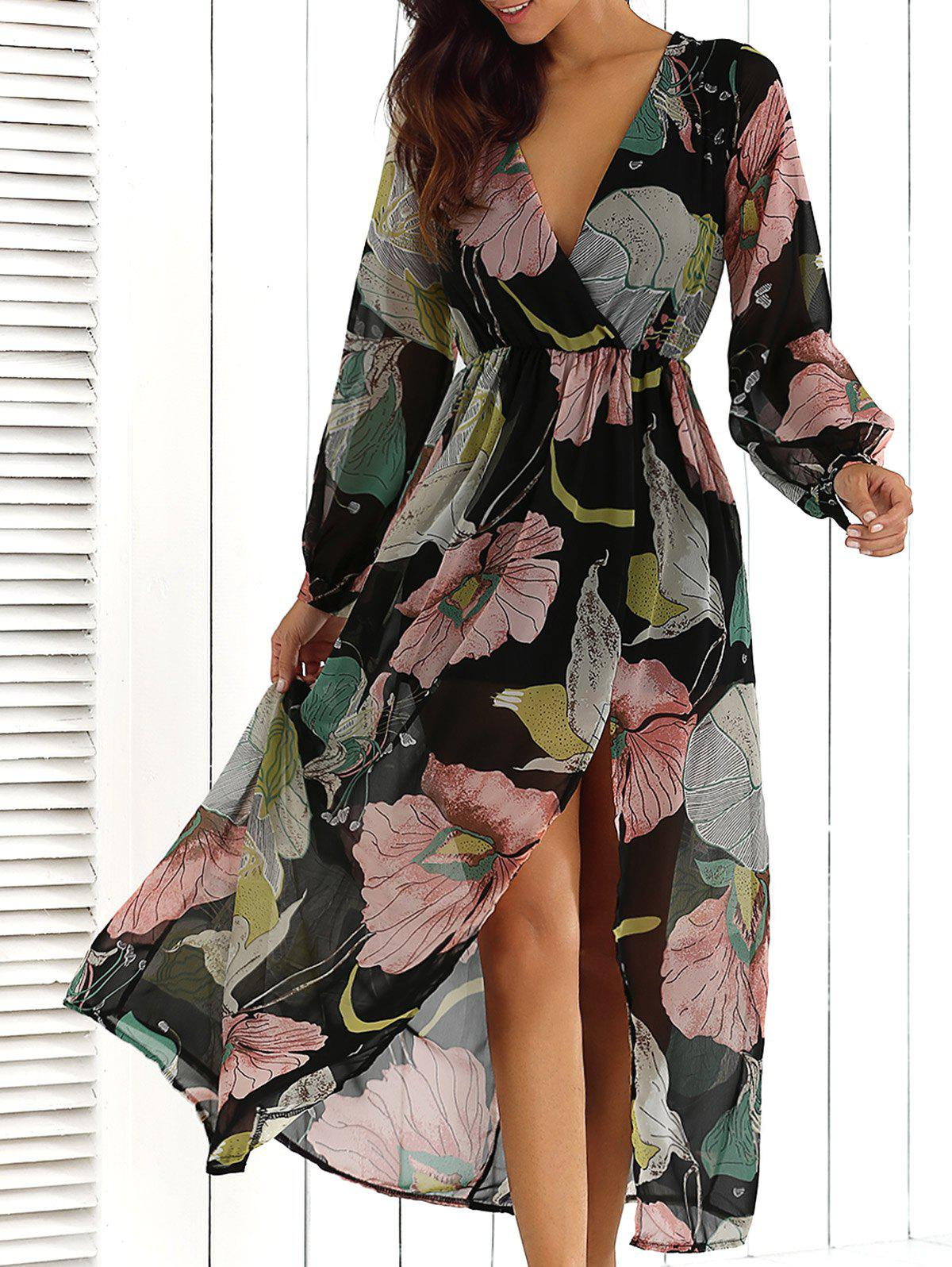 Big Flower Print V Neck Long Sleeve Maxi DressWOMEN<br><br>Size: XL; Color: FLORAL; Style: Casual; Material: Polyester; Silhouette: A-Line; Dresses Length: Ankle-Length; Neckline: V-Neck; Sleeve Length: Long Sleeves; Pattern Type: Print; Elasticity: Elastic; With Belt: No; Season: Fall,Spring; Weight: 0.2500kg; Package Contents: 1 x Dress;