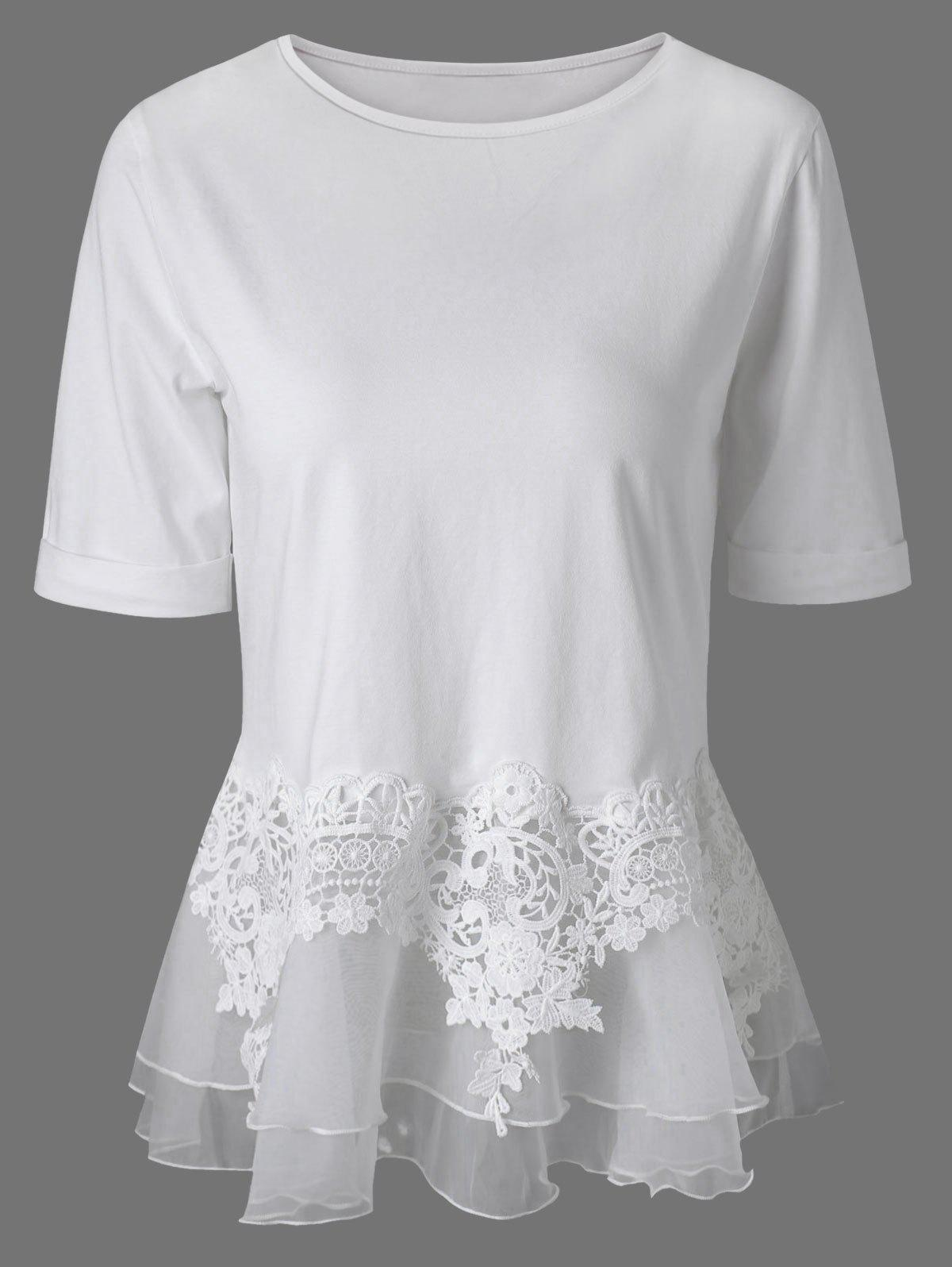 White 2xl Lace Splicing Layered Peplum Blouse
