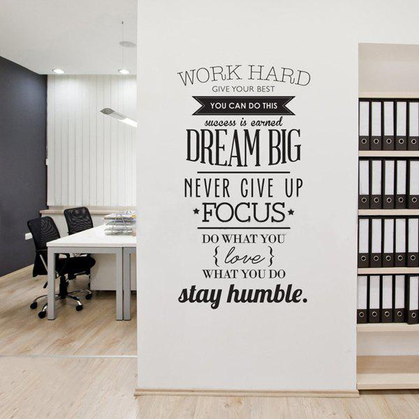 Work Hard Encouragement Proverb Study Room Wall StickerHOME<br><br>Color: BLACK; Wall Sticker Type: Plane Wall Stickers; Functions: Decorative Wall Stickers; Theme: Words/Quotes; Material: PVC; Feature: Removable; Size(L*W)(CM): 100*56; Weight: 0.290kg; Package Contents: 1 x Wall Sticker 1 x Transfer Film;