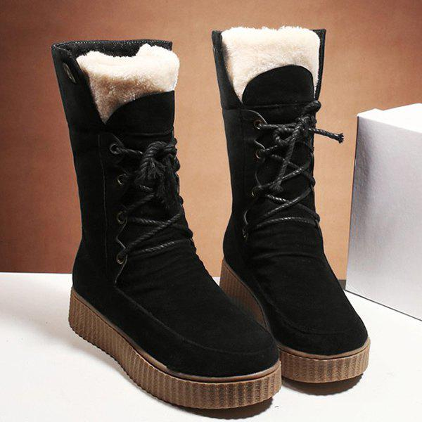 Cheap Lace Up Suede Mid Calf Boots