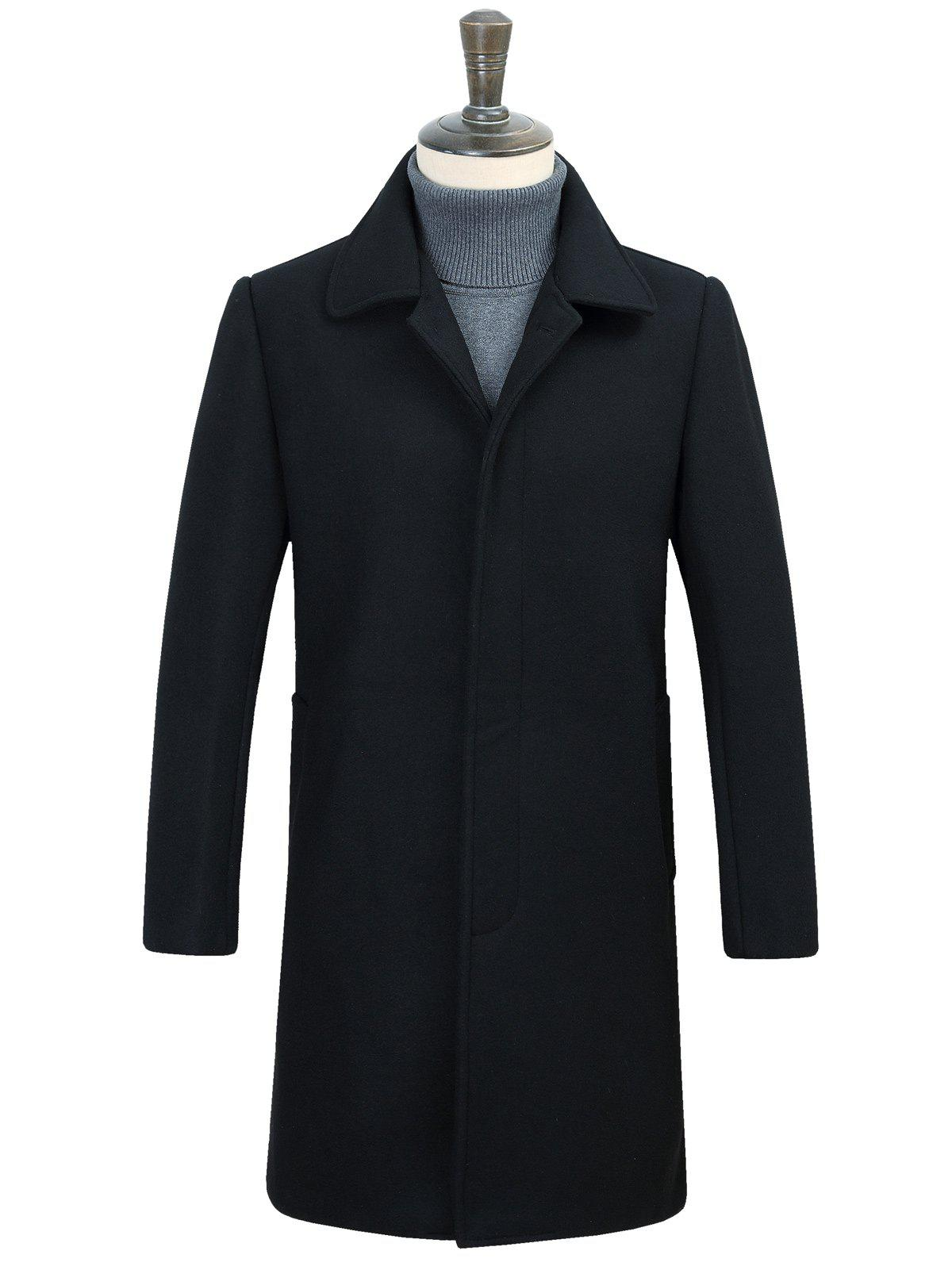 Covered Button Longline Woolen CoatMEN<br><br>Size: 3XL; Color: BLACK; Clothes Type: Wool &amp; Blends; Style: Fashion; Material: Cotton,Polyester; Collar: Turn-down Collar; Shirt Length: Long; Sleeve Length: Long Sleeves; Season: Winter; Weight: 0.950kg; Package Contents: 1 x Coat;