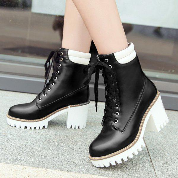 Hot Stitching Lace Up Ankle Boots