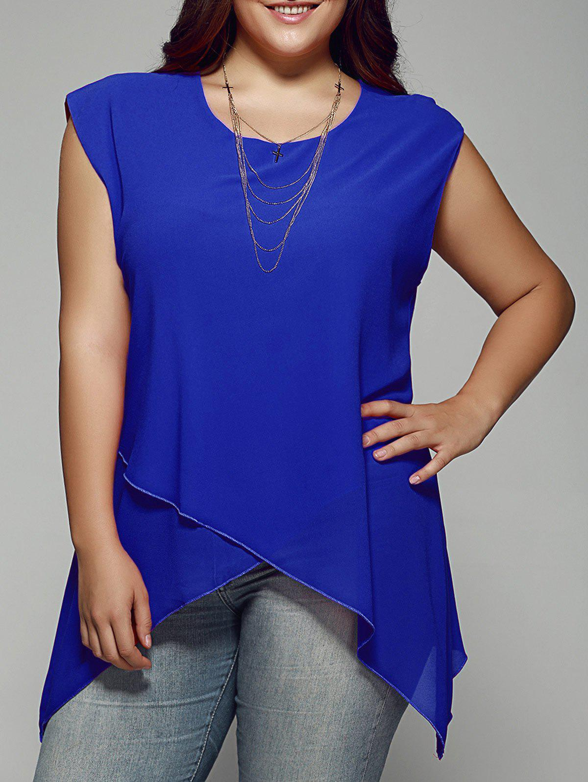 Plus Size Asymmetrical Chiffon BlouseWOMEN<br><br>Size: 3XL; Color: SAPPHIRE BLUE; Material: Polyester; Shirt Length: Regular; Sleeve Length: Sleeveless; Collar: Scoop Neck; Style: Fashion; Season: Summer; Pattern Type: Solid; Weight: 0.1760kg; Package Contents: 1 x Blouse;