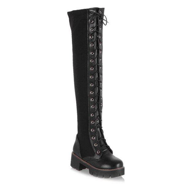 Fashion Splicing Criss Cross Lace Up Boots