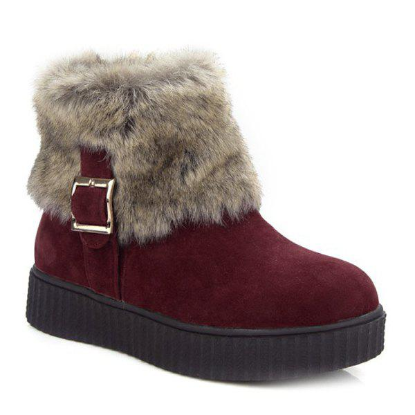 Trendy Zip Side Faux Fur Suede Ankle Boots