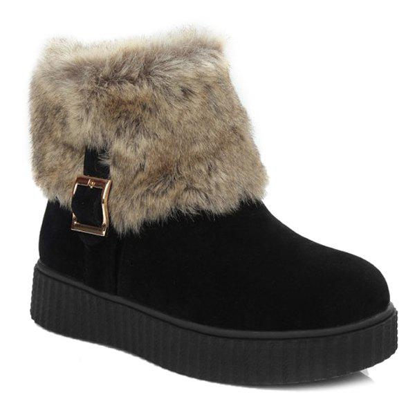 New Zip Side Faux Fur Suede Ankle Boots