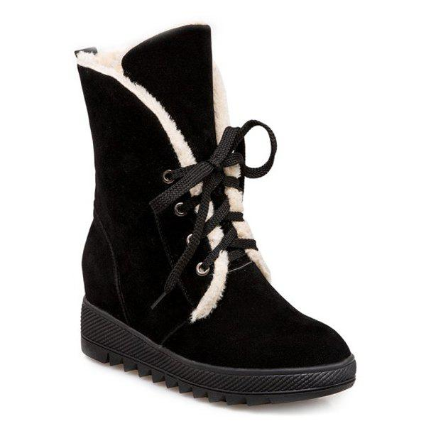 Latest Lace Up Faux Fur Suede Wedge Mid Boots