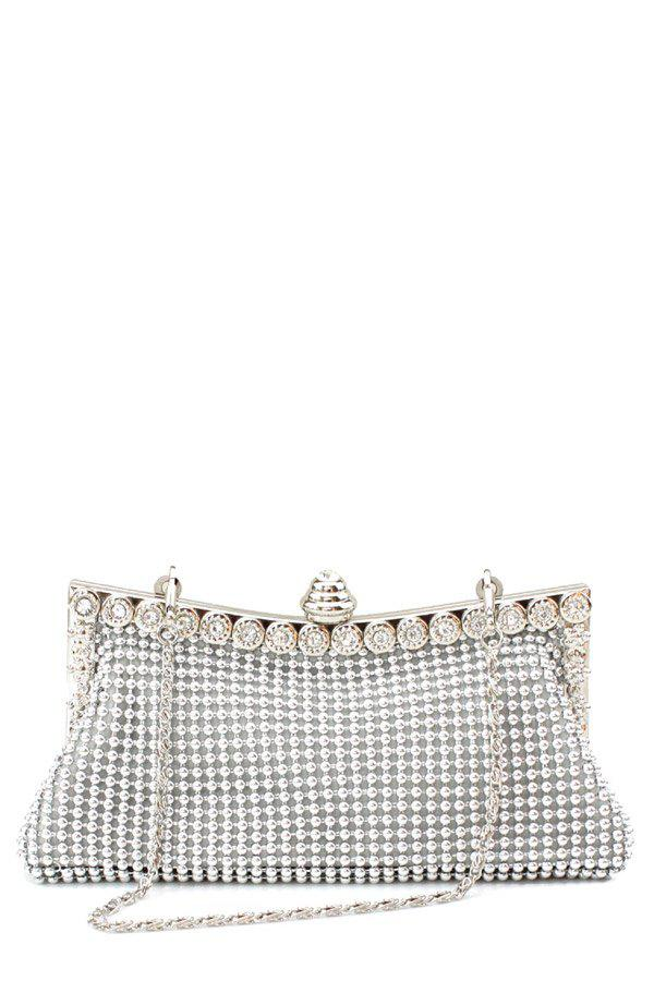Outfits Metal Trimmed Rhinestone Evening Bag