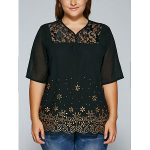 See-Through V Neck Rhinestone Blouse