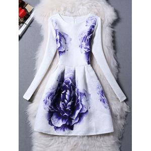 Long Sleeves Jacquard Floral A Line Dress