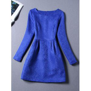 Long Sleeves Jacquard Cocktail Short Skater Dress - Royal Blue - S