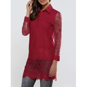 Lace Spliced Long Sleeve Sheer Scalloped Shirt - Deep Red - M