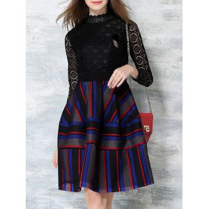 Color Block Stripe Long Sleeve Lace Dress - Black - M