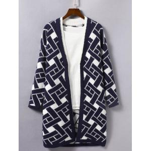 Geometric Print Loose Knitted Cardigan - Deep Blue - One Size