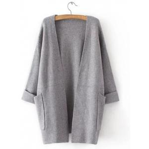 Hemming Sleeves Double Pockets Long Knit Cardigan - Gray - One Size