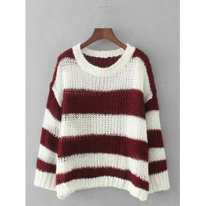 Striped Openwork Pullover Knitwear