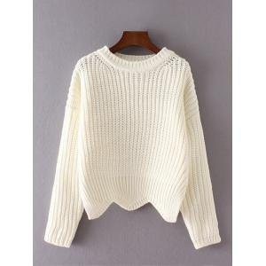 Scalloped Hem Asymmetric Chunky Sweater - White - One Size