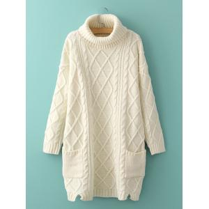 Long Cable Knit Polo Neck Jumper Sweater