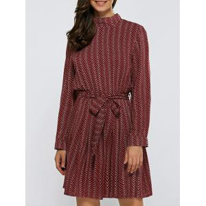 Stand Collar Zig Zag Tie-Waist Dress